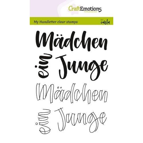 CraftEmotions CRE0209 - CraftEmotions clearstamps A6 - handletter - Mädchen, Junge (DE) Carla Kamphuis