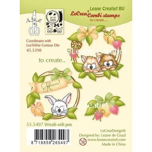 Leane Creatief 55.5497 - LeCreaDesign combi clear stamp Wreath with pets