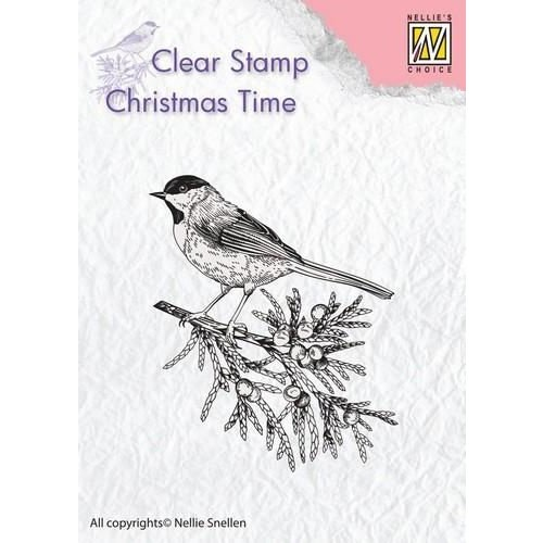 CT023 - Clear Stamp Christmas Time Conifer branch with bird