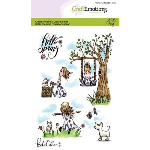 CraftEmotions CRE0252 - CraftEmotions clearstamps A6 - Kaat en Odey 3 Spring Carla Creaties