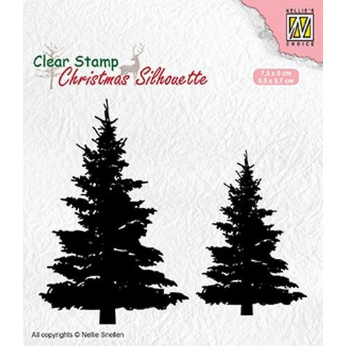 CSIL009 - Christmas silhouette clear stamps, Fir trees