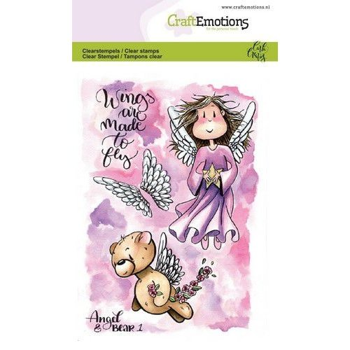 CraftEmotions CRE0290 - CraftEmotions clearstamps A6 - Angel & Bear 1 Carla Creaties