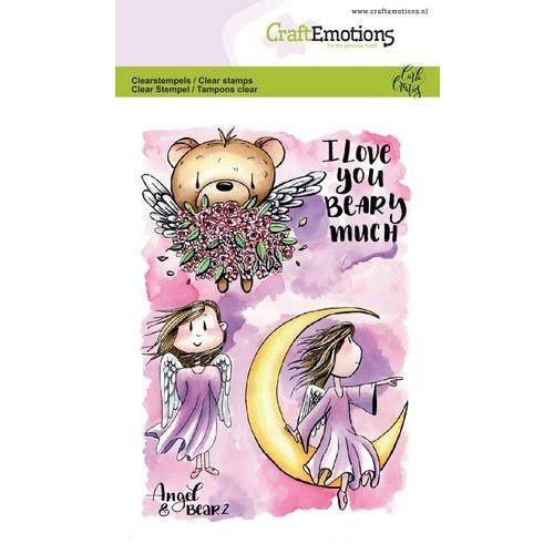 CraftEmotions CRE0291 - CraftEmotions clearstamps A6 - Angel & Bear 2 Carla Creaties