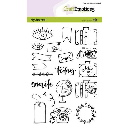CraftEmotions CRE0293 - CraftEmotions clearstamps A6 - My Journal - Travel Carla Kamphuis