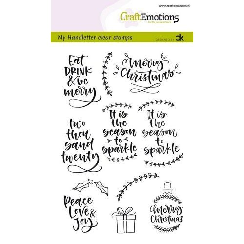 CraftEmotions CRE0297 - CraftEmotions clearstamps A6 - handletter -  Christmas 2 (Eng) Carla Kamphuis