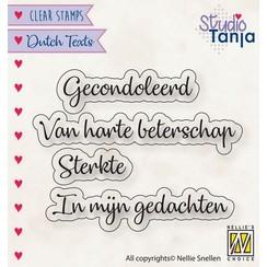 DTCS029 - Clear stamps Dutch texts, Gecondoleerd etc..