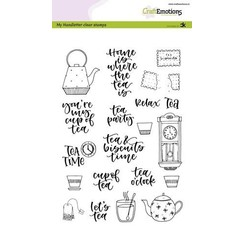 CRE0342 - CraftEmotions clearstamps A5 - handletter - Tea Time (Eng) Carla Kamphuis