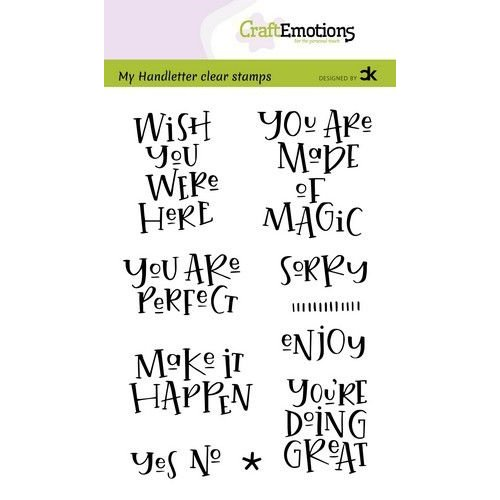CraftEmotions CRE0383 - CraftEmotions clearstamps A6 - handletter - Wish you were here (Eng) Carla Kamphuis