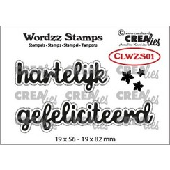 CLWZS01 - Crealies Clearstamp Wordzz Hartelijk gefeliciteerd (NL) 01 19x82 mm