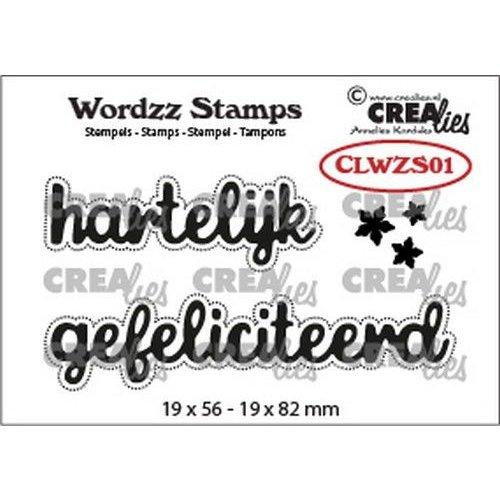Crealies CLWZS01 - Crealies Clearstamp Wordzz Hartelijk gefeliciteerd (NL) 01 19x82 mm