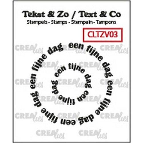 Crealies CLTZV03 - Crealies Clearstamp Tekst & Zo Rond: een fijne dag (NL) 03 20+39 mm