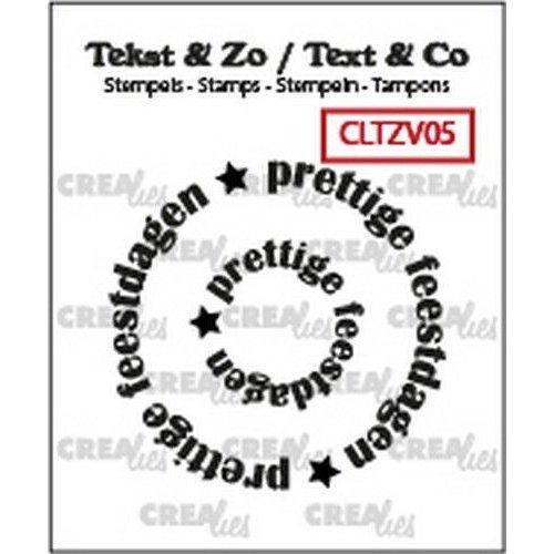 Crealies CLTZV05 - Crealies Clearstamp Tekst & Zo Rond: prettige feestdagen (NL) 05 21+40 mm