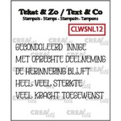 CLTZWSNL12 - Crealies Clearstamp Tekst & Zo woordstrips Overlijden (NL) CLTZWSNL12 5x4x50mm