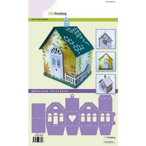 CraftEmotions 0,3mm - 4002 - CraftEmotions stencil- giftbox huis 10x9,0x6,5cm