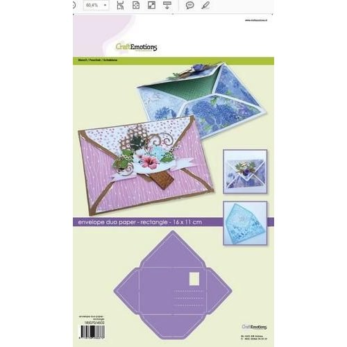 CraftEmotions 0,3mm - 4502 - CraftEmotions stencil- envelop duo paper - rechthoek 11x16cm