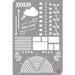 470.851.005 - Pronty Bullet Journal Stencil  Edges 1 51.005 12x18cm