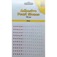APS201 - Adhesive half pearls 150 pcs 2mm 3 tinten rood