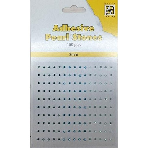 APS203 - Adhesive half pearls 150 pcs 2mm 3 tinten blauw