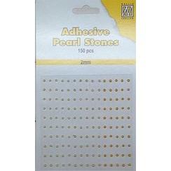 APS204 - Adhesive half pearls 150 pcs 2mm 3 tinten geel/goud