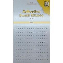 APS207 - Adhesive half pearls 150 pcs 2mm 3 tinten wit
