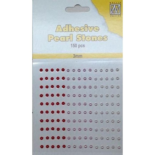 APS301 - Adhesive half pearls 150 pcs 3mm 3 tinten rood