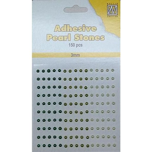 APS302 - Adhesive half pearls 150 pcs 3mm 3 tinten groen