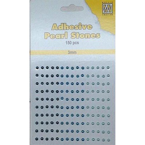 APS303 - Adhesive half pearls 150 pcs 3mm 3 tinten blauw
