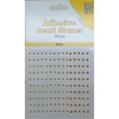 APS304 - Adhesive half pearls 150 pcs 3mm 3 tinten geel/goud