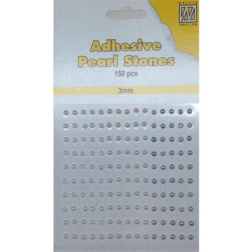 APS307 - Adhesive half pearls 150 pcs 3mm 3 tinten wit