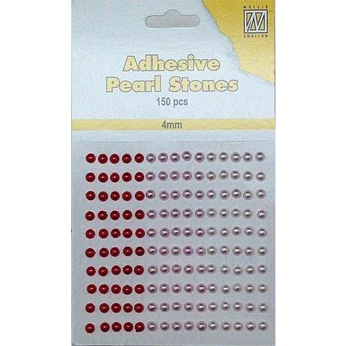 APS401 - Adhesive half pearls 150 pcs 4mm 3 tinten rood