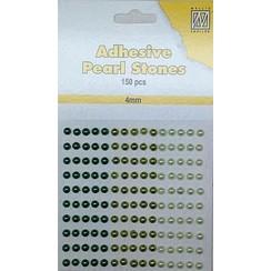 APS402 - Adhesive half pearls 150 pcs 4mm 3 tinten groen