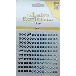 APS403 - Adhesive half pearls 150 pcs 4mm 3 tinten blauw