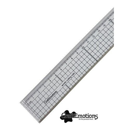 08221 - CraftEmotions Snijliniaal transparant 20cm met metalen rand