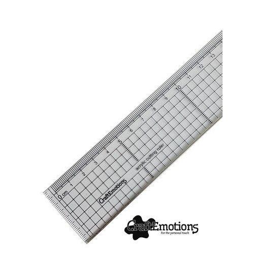08101 - CraftEmotions Snijliniaal transparant 30cm met metalen rand