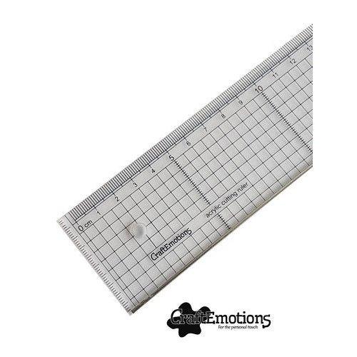 08112 - CraftEmotions Snijliniaal transparant 40cm met metalen rand
