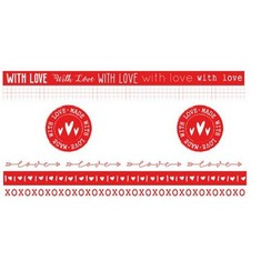 WASHIFWL19 - Studio Light Washi Tape Red/White Filled With love nr.19 WASHIFWL19