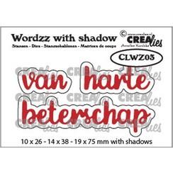 CLWZ03 - Crealies Wordzz with Shadow van Harte beterschap (NL) CLWZ03 19x75mm