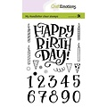CraftEmotions CRE0384 - CraftEmotions clearstamps A6 - handletter - Happy Brithday & numbers (Eng) Carla Kamphuis