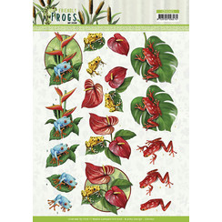 CD11621 - 10 stuks 3d knipvellen - Amy Design - Friendly Frogs - Poison Frogs