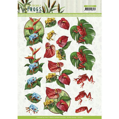 CD11621 - 10 stuks 3d knipvellen - Amy Design - Friendly Frogs - Poison Frogs