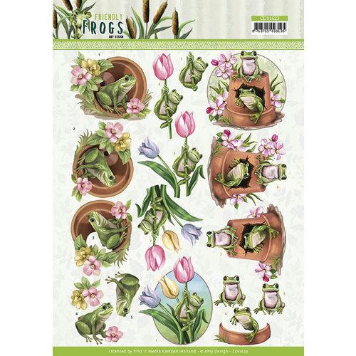 CD11623 - 10 stuks 3d knipvellen - Amy Design - Friendly Frogs - Flower Frogs