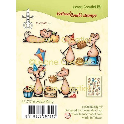 Leane Creatief 55.7316 - Clear stamp combi Muizen party