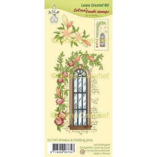 Leane Creatief 55.7347 - Clear stamp combi Raamkozijn met klimplant