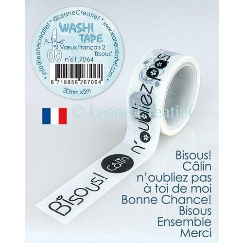 Leane Creatief 61.7064 - Washi tape Bisous, 20mmx5m. (FR)