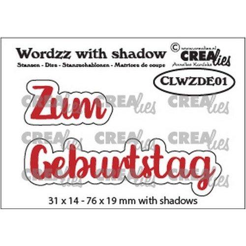 Crealies CLWZDE01 - Crealies Wordzz with Shadow Zum Geburtstag (DE)  76x19mm