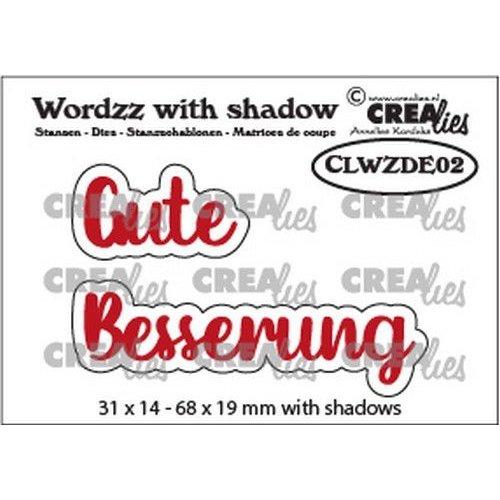 Crealies CLWZDE02 - Crealies Wordzz with Shadow Gute Besserung (DE)  68x19mm