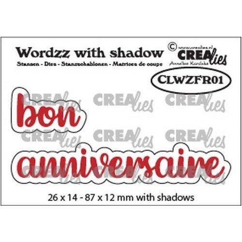 Crealies CLWZFR01 - Crealies Wordzz with Shadow bon anniversaire (FR)  87x12mm
