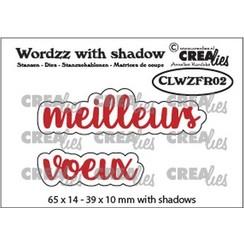 CLWZFR02 - Crealies Wordzz with Shadow meilleurs voeux (FR)  39x10mm