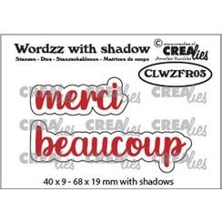 CLWZFR03 - Crealies Wordzz with Shadow merci beaucoup (FR)  68x19mm
