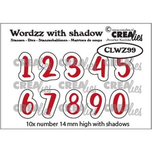Crealies CLWZ99 - Crealies Wordzz with Shadow Cijfers  14mm